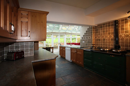 The kitchen at Hazelwood self catering group accommodation